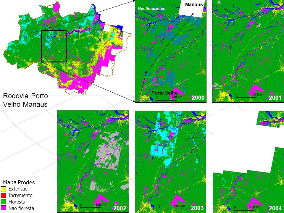 Rodovia Porto Velho-Manaus 2000 2001 2002 Mapa Prodes 2003 2004 Manaus