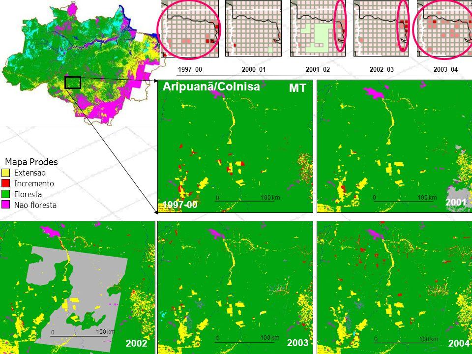 Aripuanã/Colnisa MT Mapa Prodes 1997-00 2001 2002 2003 2004 Extensao
