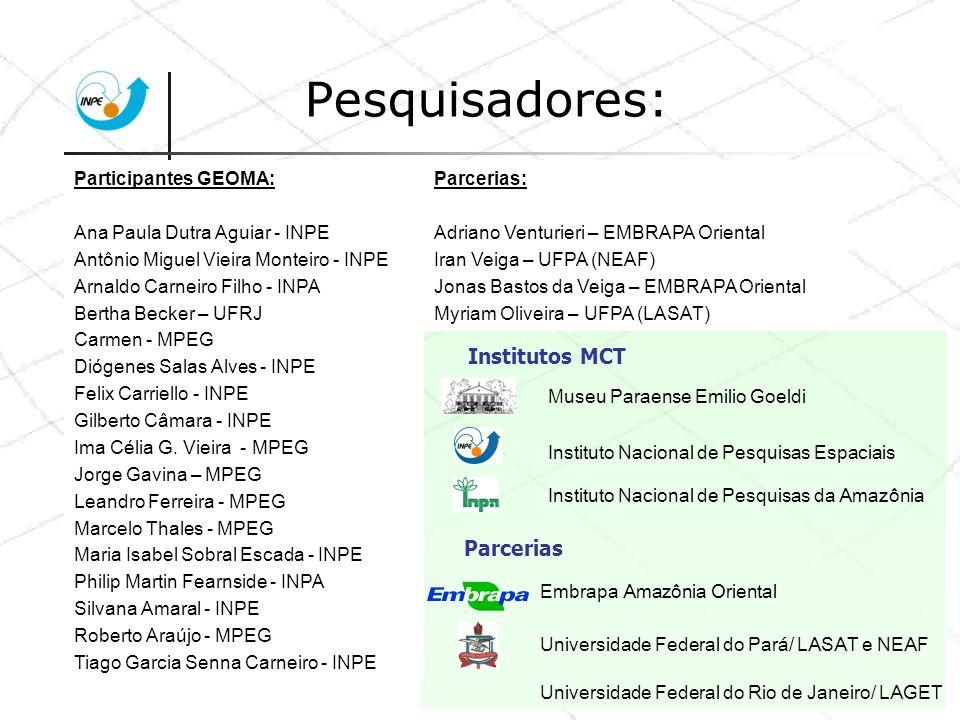 Pesquisadores: Institutos MCT Parcerias Participantes GEOMA:
