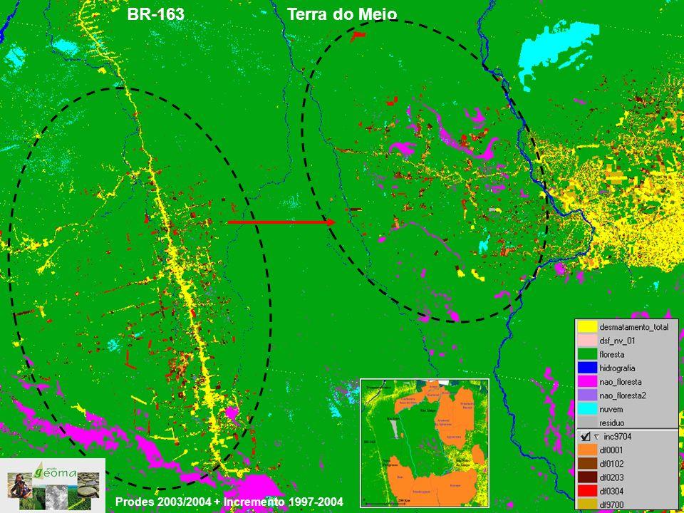 BR-163 Terra do Meio Prodes 2003/2004 + Incremento 1997-2004