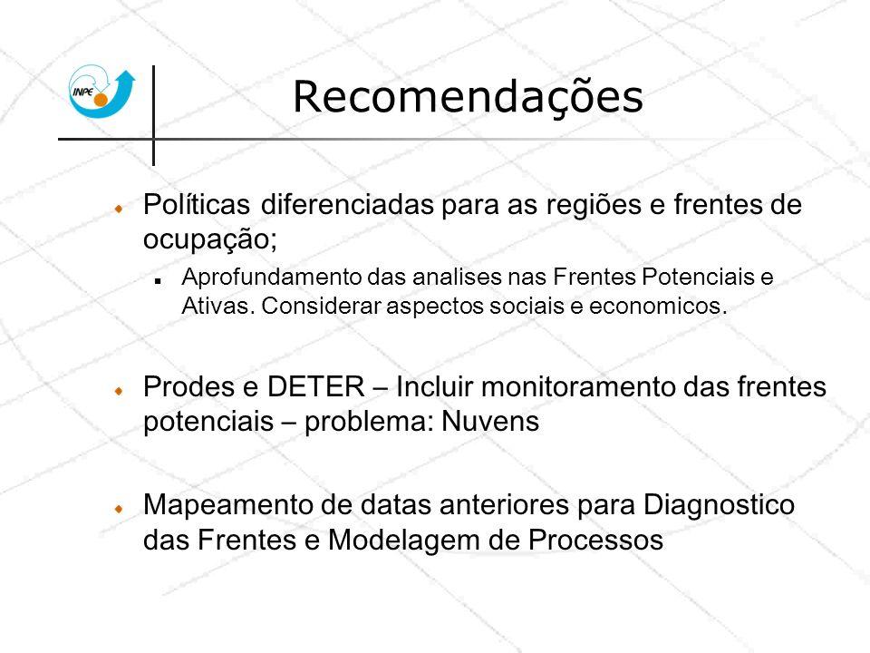 Recomendações Políticas diferenciadas para as regiões e frentes de ocupação;