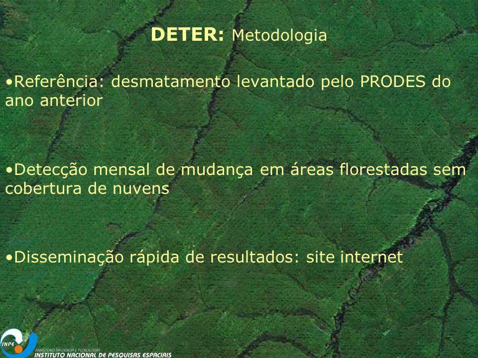 DETER: Metodologia Referência: desmatamento levantado pelo PRODES do ano anterior.