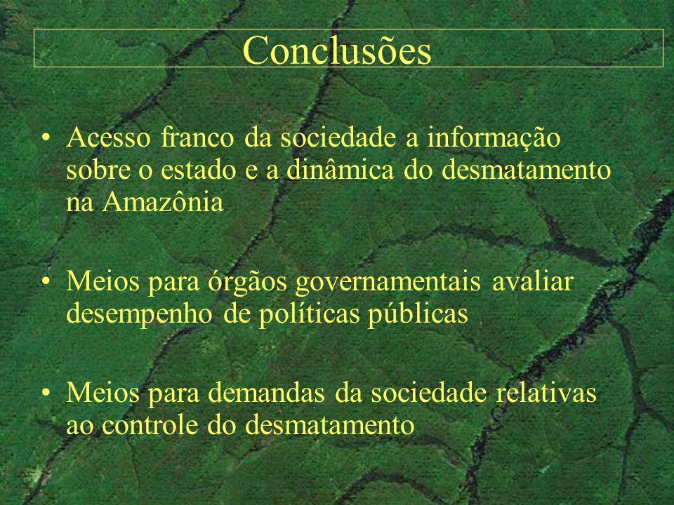 Conclusões Acesso franco da sociedade a informação sobre o estado e a dinâmica do desmatamento na Amazônia.