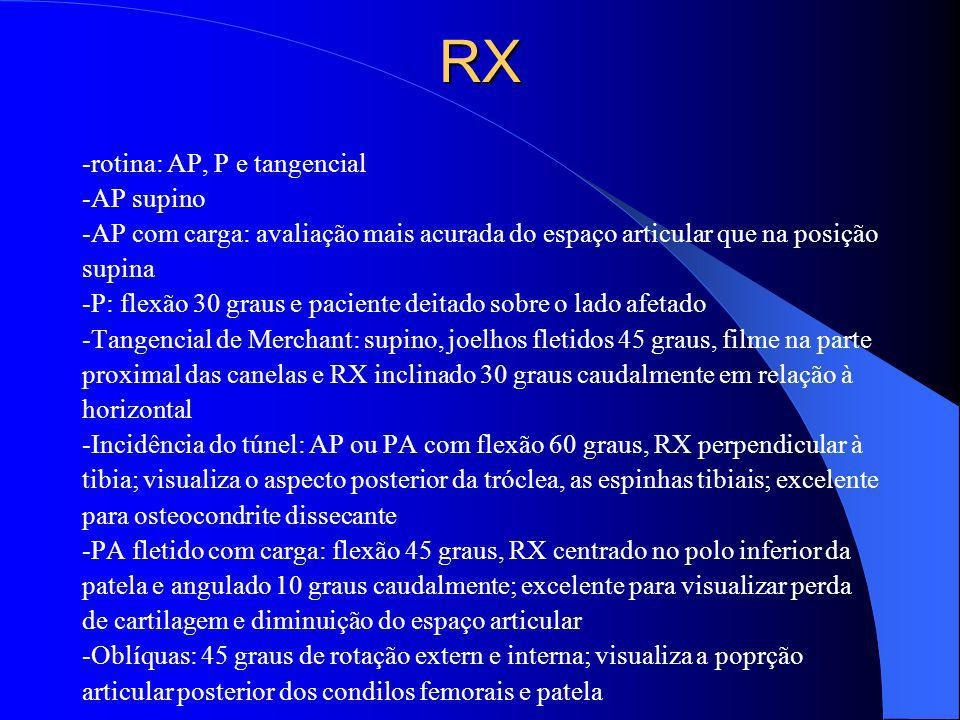 RX -rotina: AP, P e tangencial -AP supino