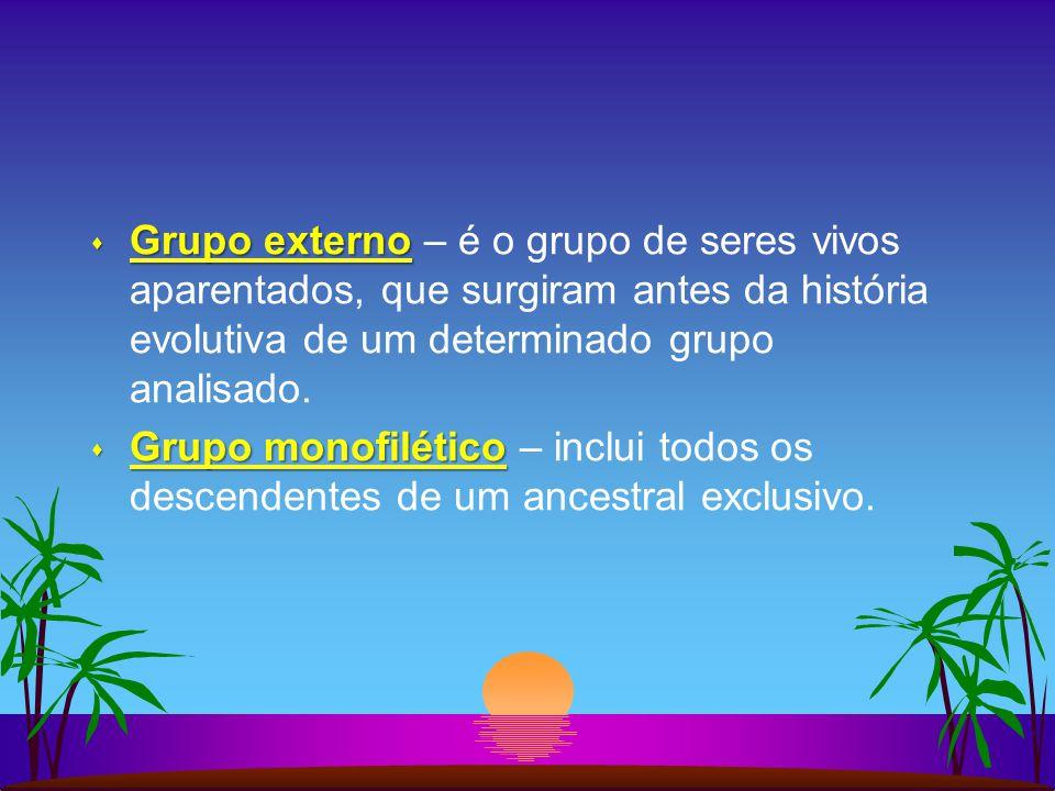 Grupo externo – é o grupo de seres vivos aparentados, que surgiram antes da história evolutiva de um determinado grupo analisado.