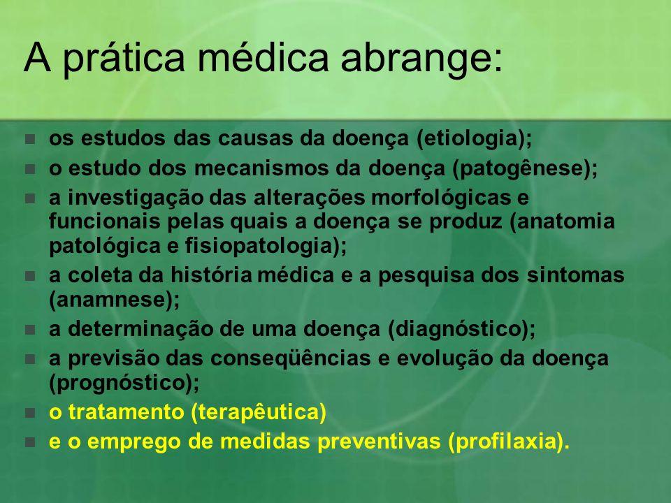 A prática médica abrange: