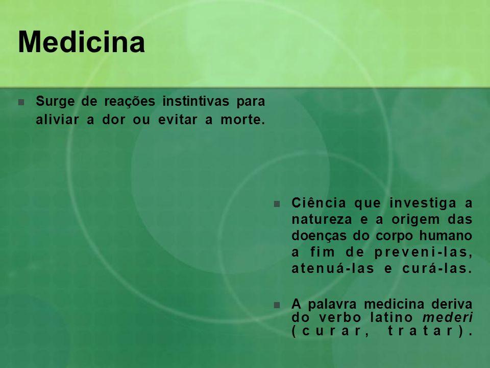 Medicina Surge de reações instintivas para aliviar a dor ou evitar a morte.