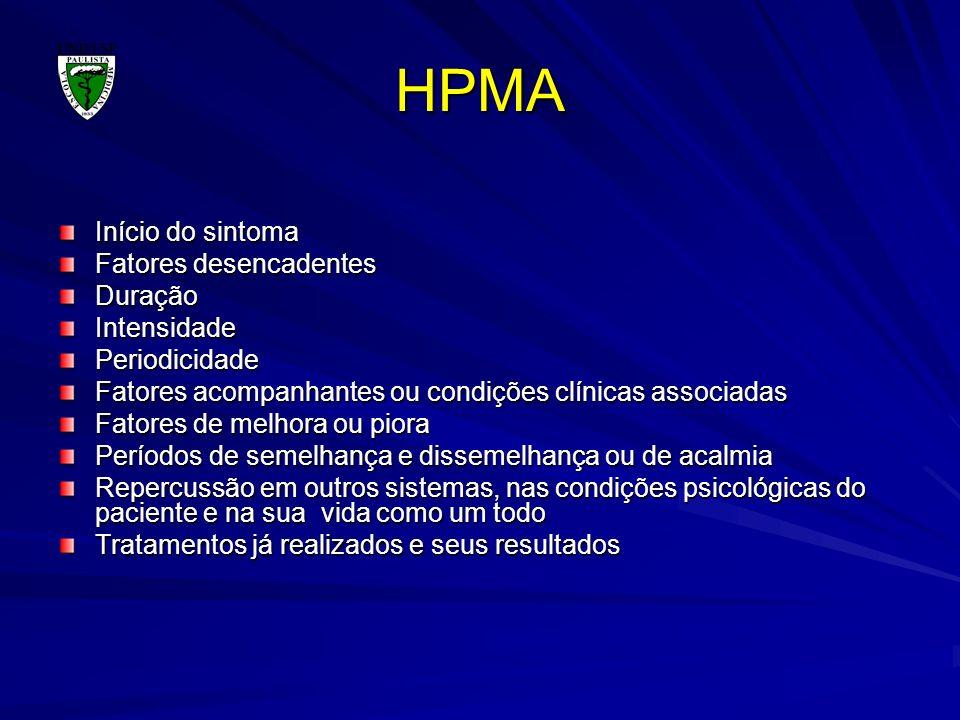 HPMA Início do sintoma Fatores desencadentes Duração Intensidade