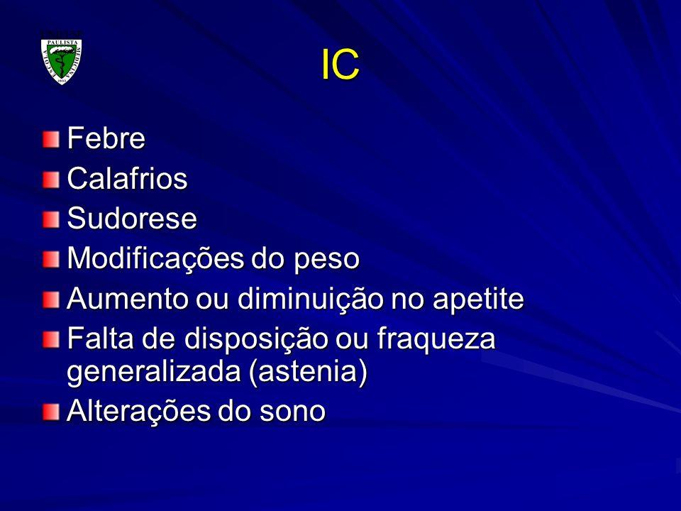 IC Febre Calafrios Sudorese Modificações do peso