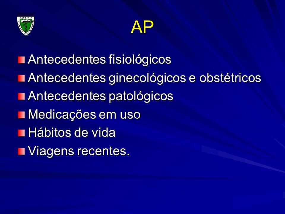 AP Antecedentes fisiológicos Antecedentes ginecológicos e obstétricos