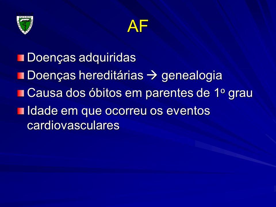 AF Doenças adquiridas Doenças hereditárias  genealogia