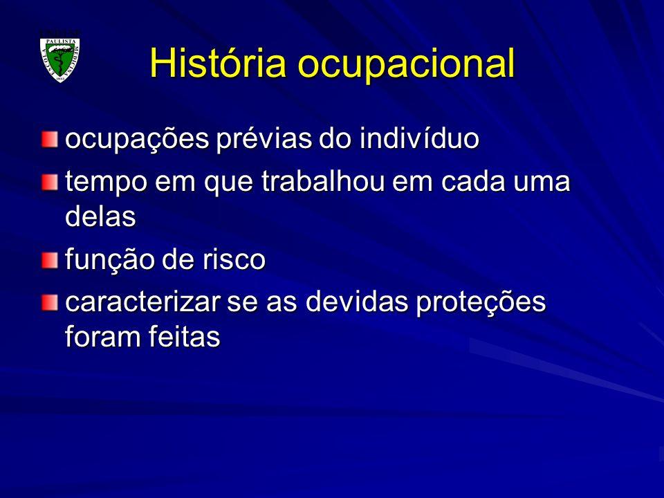 História ocupacional ocupações prévias do indivíduo