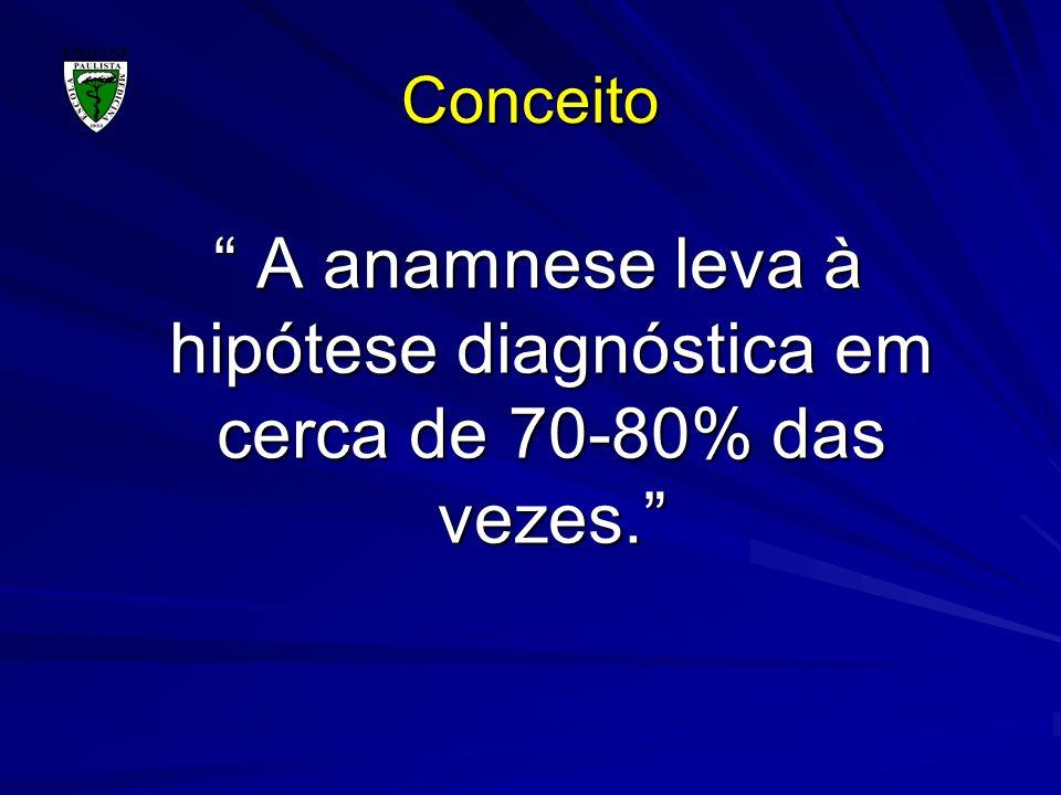 Conceito A anamnese leva à hipótese diagnóstica em cerca de 70-80% das vezes.