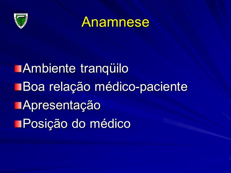 Anamnese Ambiente tranqüilo Boa relação médico-paciente Apresentação
