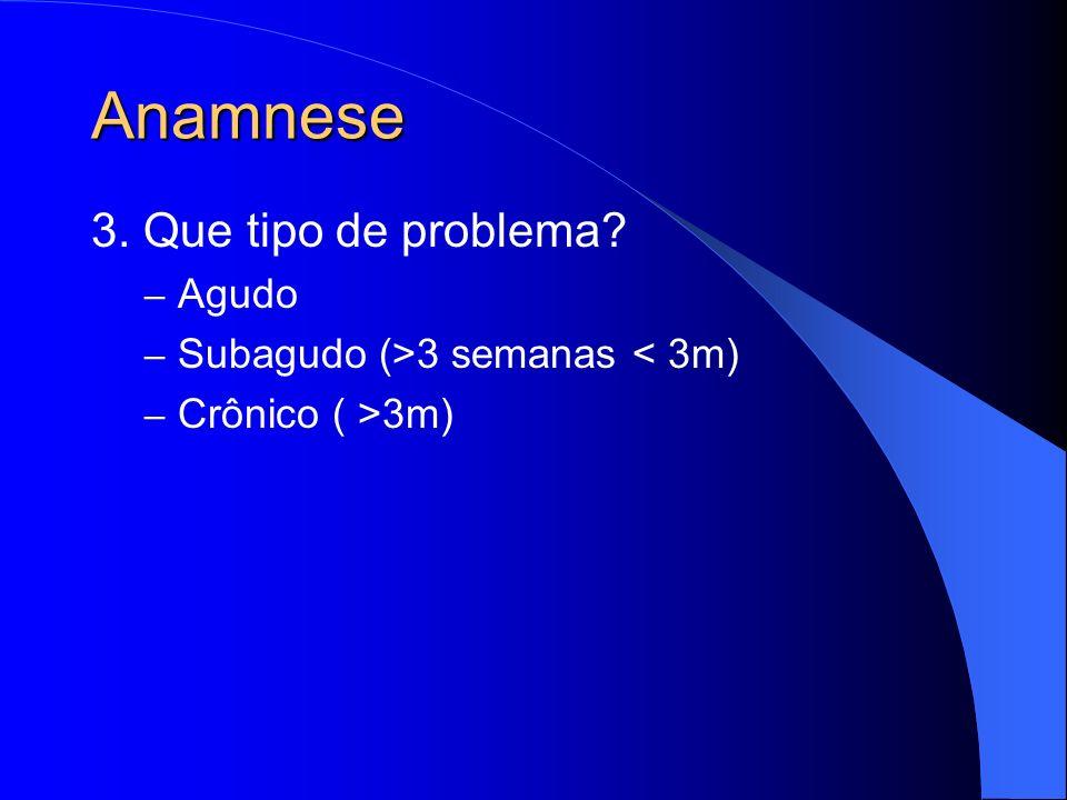 Anamnese 3. Que tipo de problema Agudo