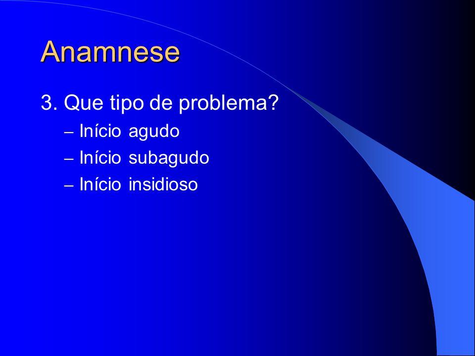 Anamnese 3. Que tipo de problema Início agudo Início subagudo