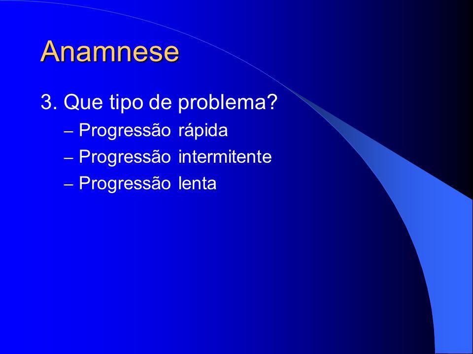 Anamnese 3. Que tipo de problema Progressão rápida