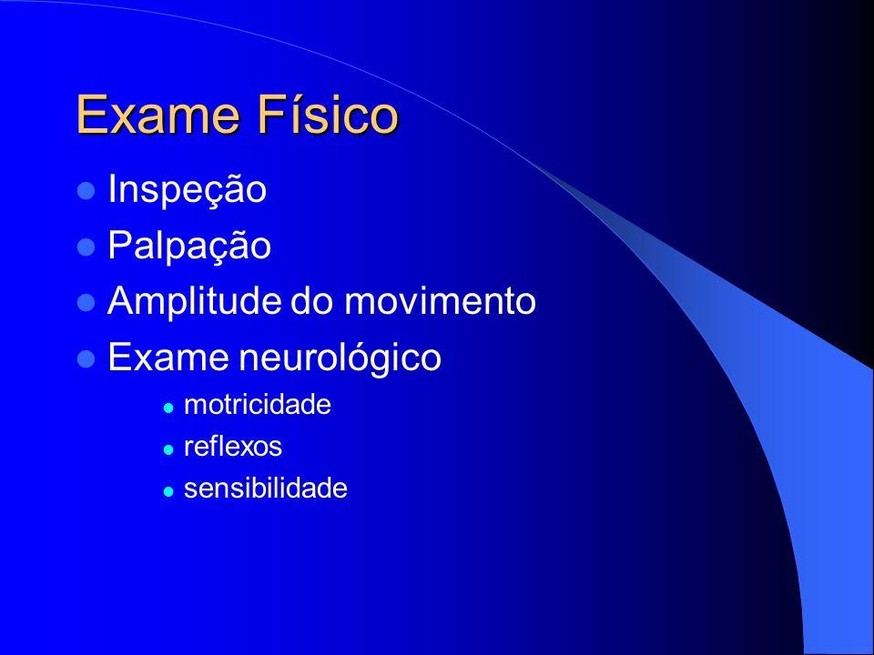 Exame Físico Inspeção Palpação Amplitude do movimento