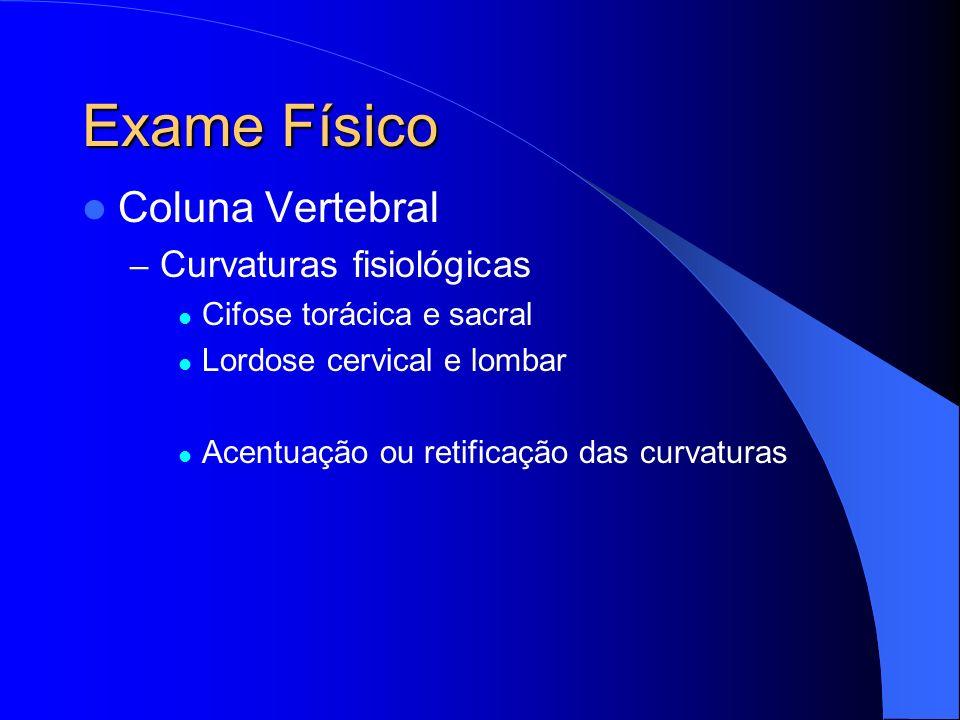 Exame Físico Coluna Vertebral Curvaturas fisiológicas