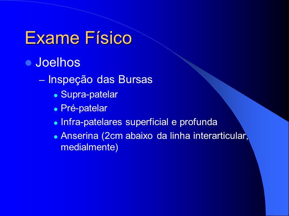 Exame Físico Joelhos Inspeção das Bursas Supra-patelar Pré-patelar