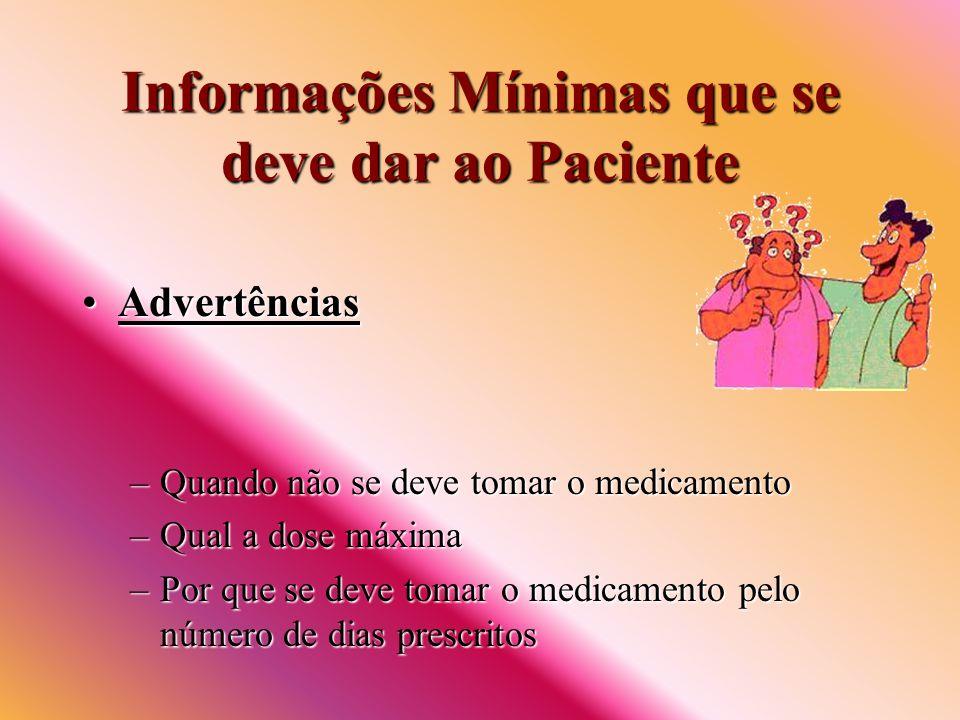 Informações Mínimas que se deve dar ao Paciente