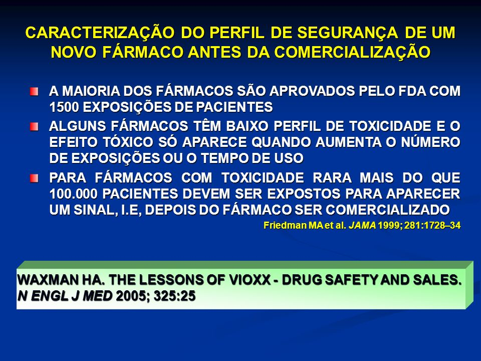 CARACTERIZAÇÃO DO PERFIL DE SEGURANÇA DE UM NOVO FÁRMACO ANTES DA COMERCIALIZAÇÃO