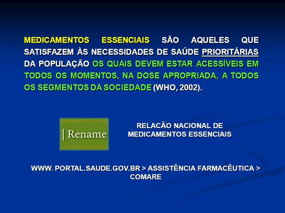 MEDICAMENTOS ESSENCIAIS SÃO AQUELES QUE SATISFAZEM ÀS NECESSIDADES DE SAÚDE PRIORITÁRIAS DA POPULAÇÃO OS QUAIS DEVEM ESTAR ACESSÍVEIS EM TODOS OS MOMENTOS, NA DOSE APROPRIADA, A TODOS OS SEGMENTOS DA SOCIEDADE (WHO, 2002).
