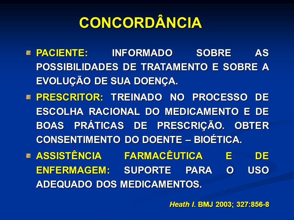 CONCORDÂNCIA PACIENTE: INFORMADO SOBRE AS POSSIBILIDADES DE TRATAMENTO E SOBRE A EVOLUÇÃO DE SUA DOENÇA.