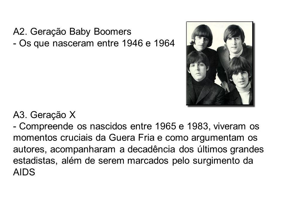 A2. Geração Baby Boomers Os que nasceram entre 1946 e 1964. A3. Geração X.