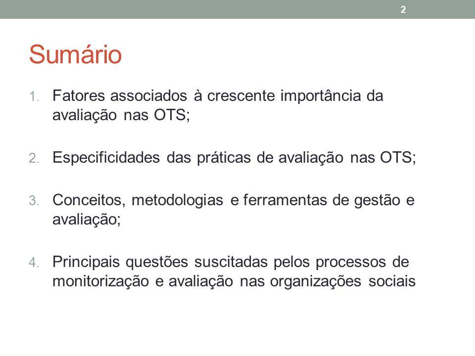 Sumário Fatores associados à crescente importância da avaliação nas OTS; Especificidades das práticas de avaliação nas OTS;