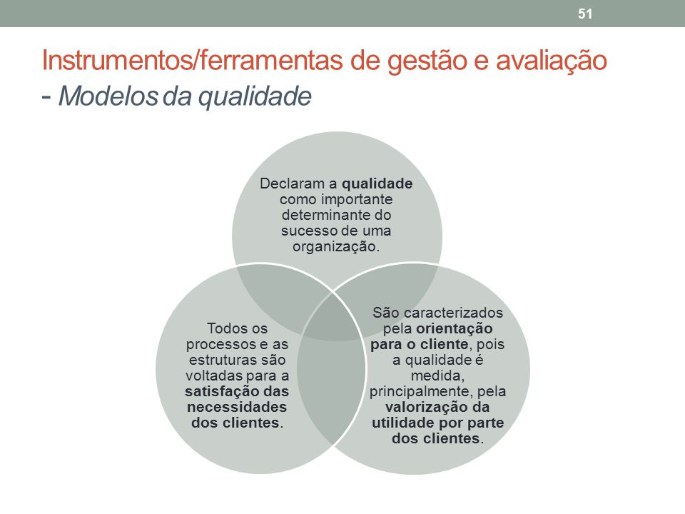 Instrumentos/ferramentas de gestão e avaliação - Modelos da qualidade
