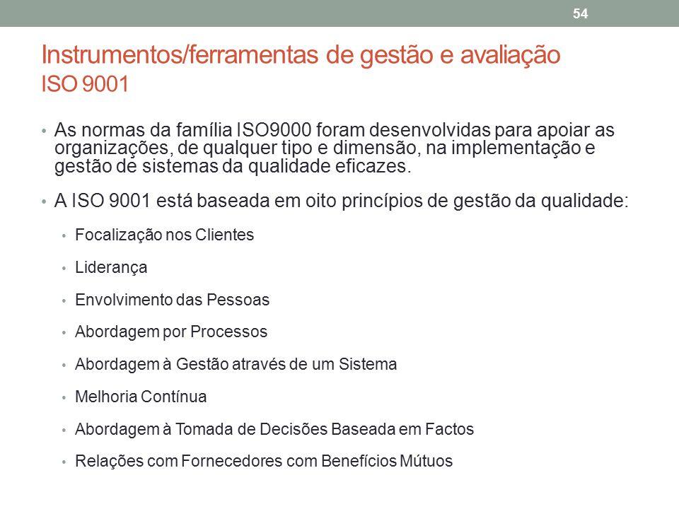 Instrumentos/ferramentas de gestão e avaliação ISO 9001