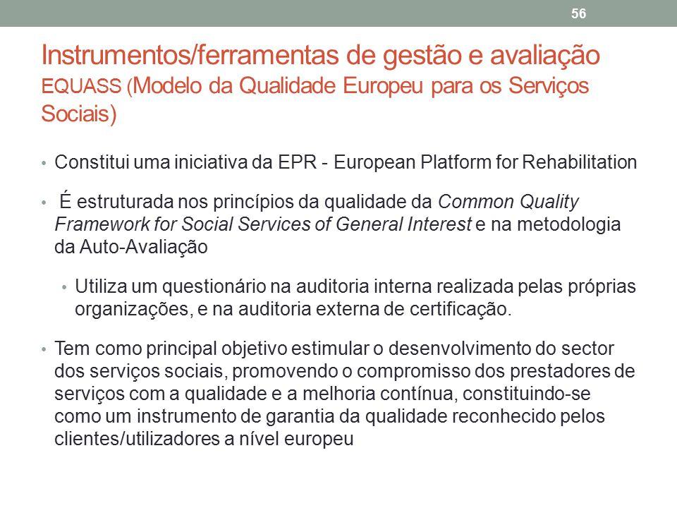 Instrumentos/ferramentas de gestão e avaliação EQUASS (Modelo da Qualidade Europeu para os Serviços Sociais)