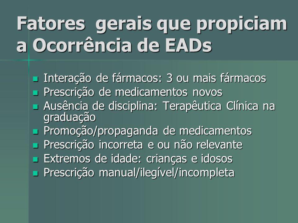 Fatores gerais que propiciam a Ocorrência de EADs