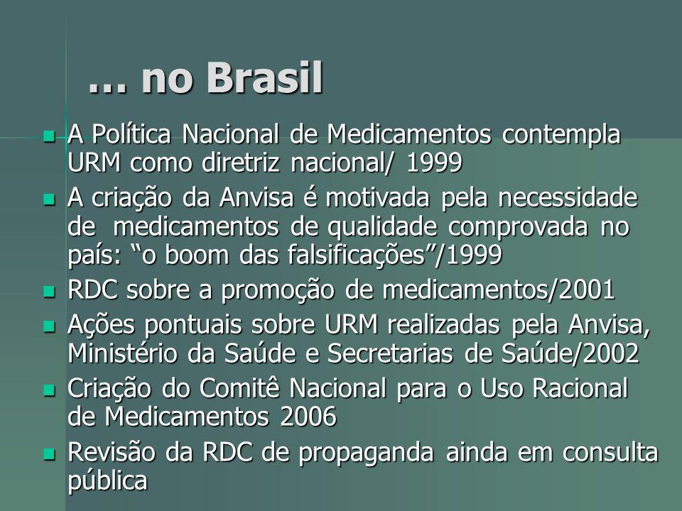 … no Brasil A Política Nacional de Medicamentos contempla URM como diretriz nacional/ 1999.