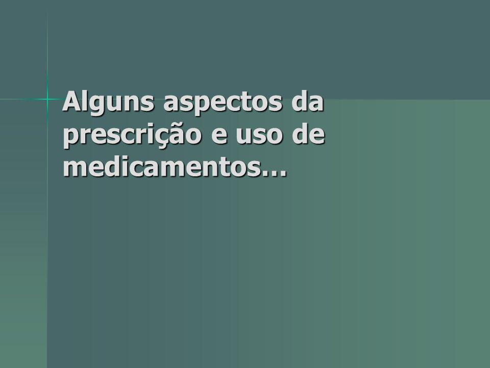 Alguns aspectos da prescrição e uso de medicamentos…