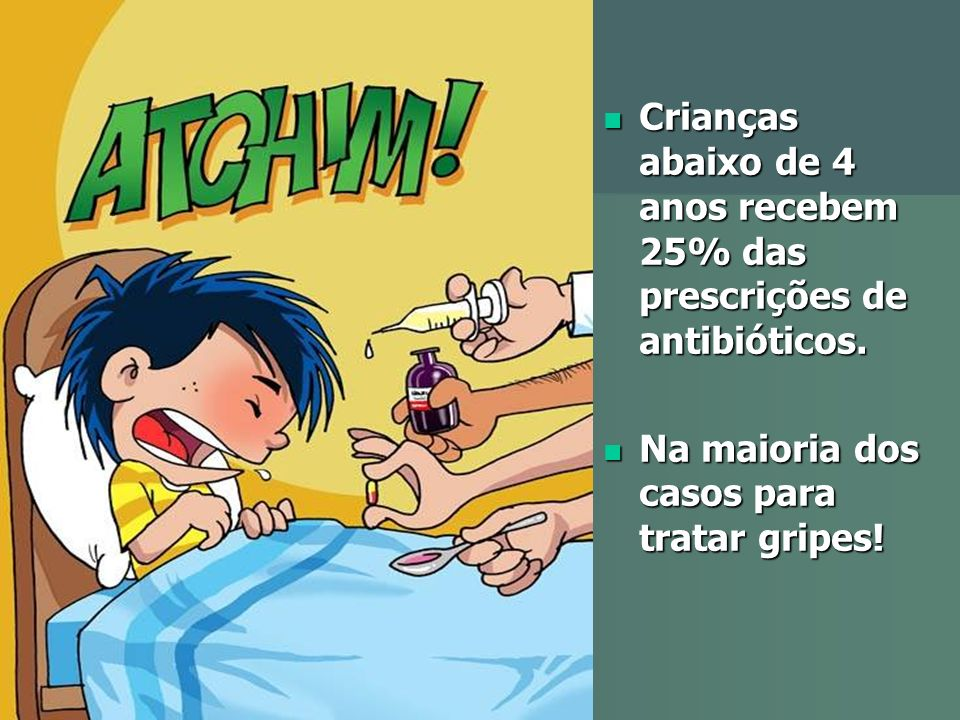 Crianças abaixo de 4 anos recebem 25% das prescrições de antibióticos.