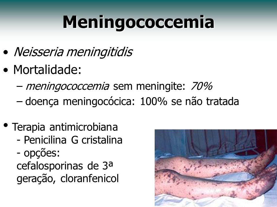 Meningococcemia Neisseria meningitidis Mortalidade: