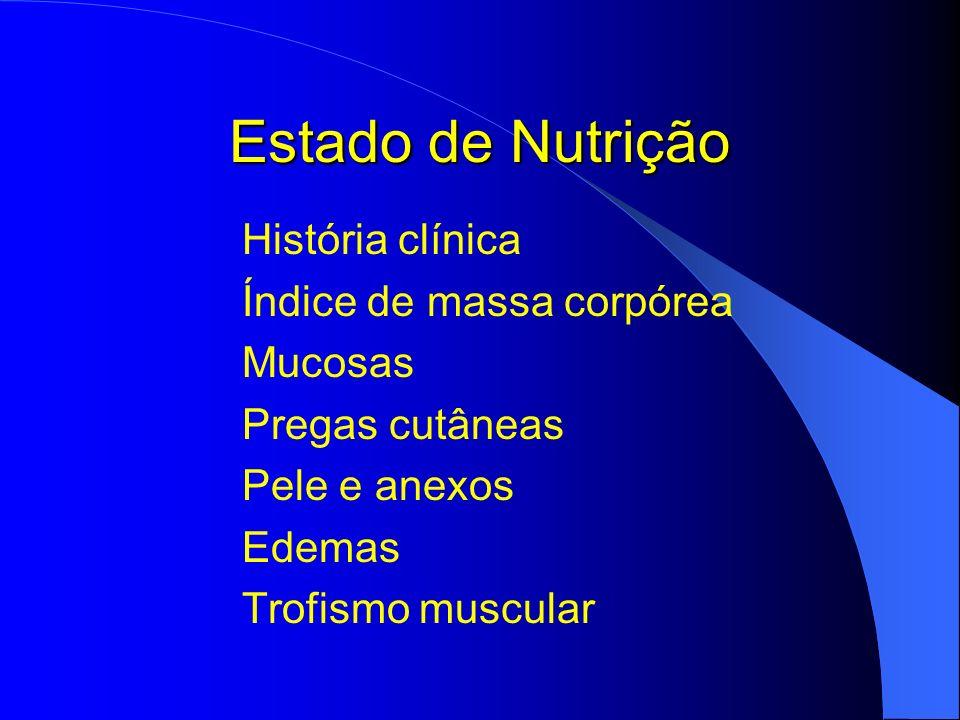 Estado de Nutrição História clínica Índice de massa corpórea Mucosas