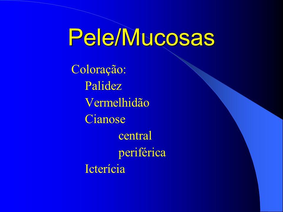 Pele/Mucosas Coloração: Palidez Vermelhidão Cianose central periférica
