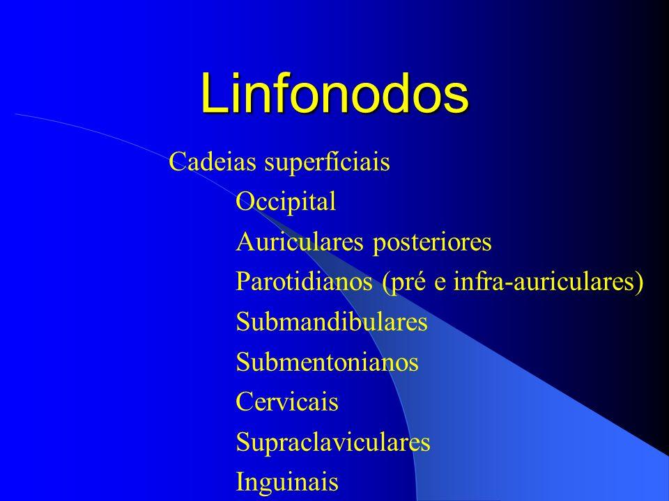 Linfonodos Cadeias superfíciais Occipital Auriculares posteriores