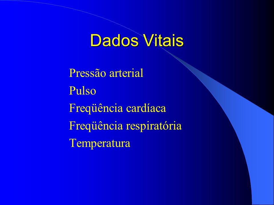 Dados Vitais Pressão arterial Pulso Freqüência cardíaca