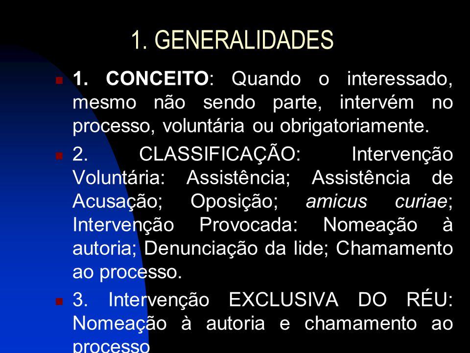 1. GENERALIDADES 1. CONCEITO: Quando o interessado, mesmo não sendo parte, intervém no processo, voluntária ou obrigatoriamente.