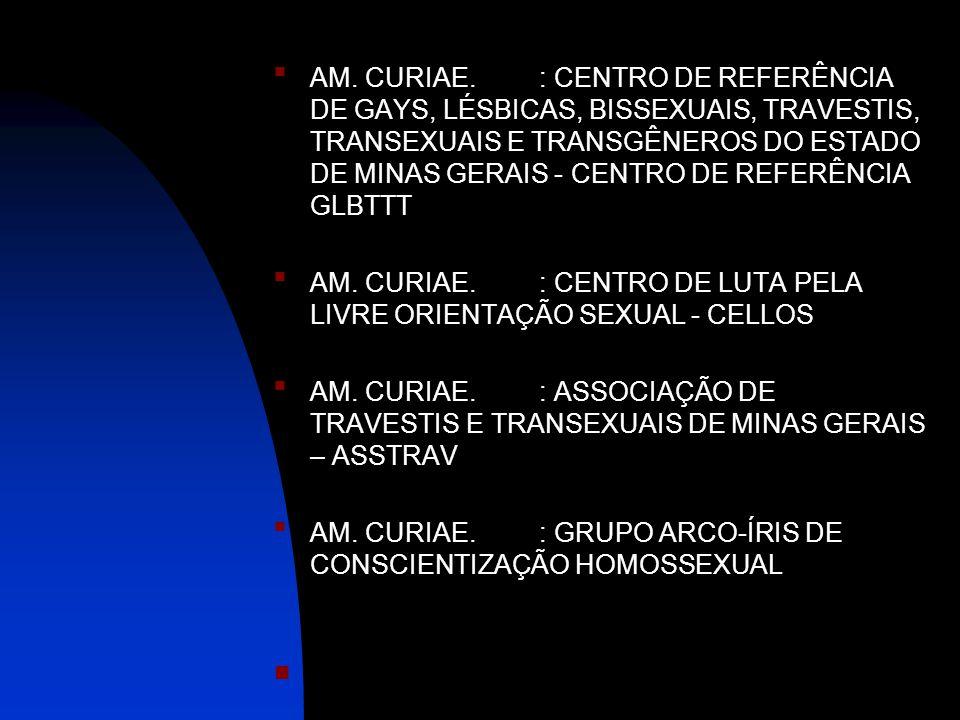 AM. CURIAE. : CENTRO DE REFERÊNCIA DE GAYS, LÉSBICAS, BISSEXUAIS, TRAVESTIS, TRANSEXUAIS E TRANSGÊNEROS DO ESTADO DE MINAS GERAIS - CENTRO DE REFERÊNCIA GLBTTT