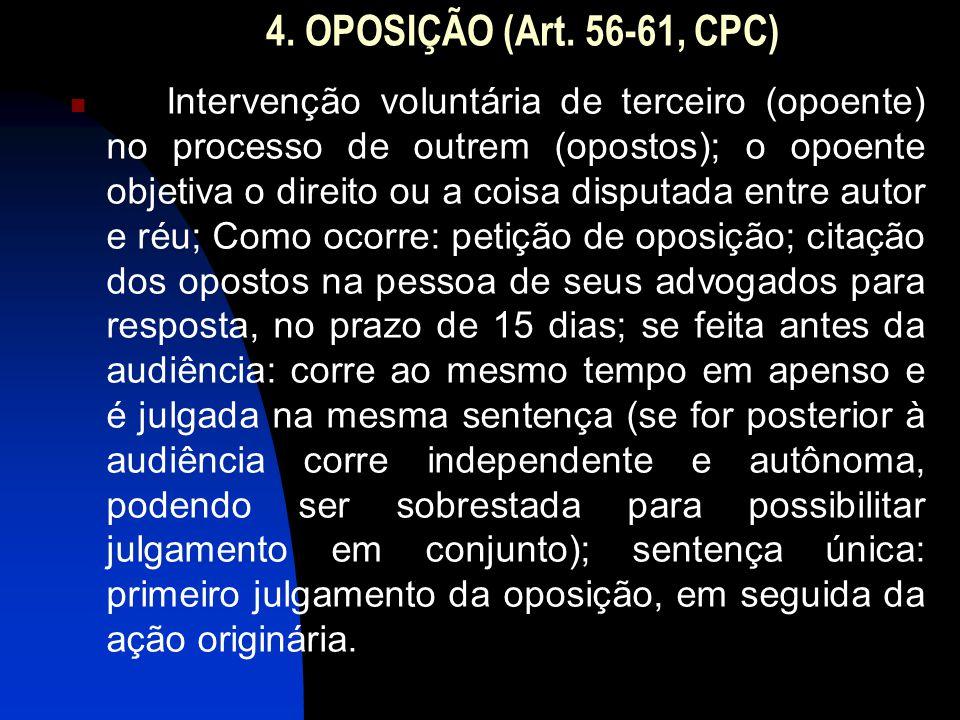 4. OPOSIÇÃO (Art. 56-61, CPC)