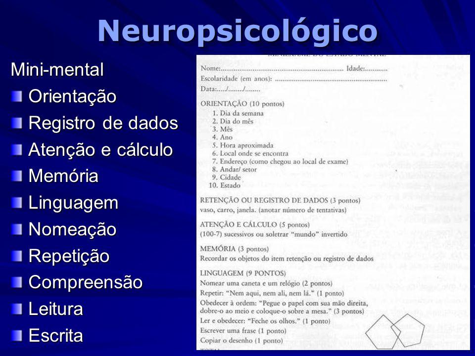 Neuropsicológico Mini-mental Orientação Registro de dados