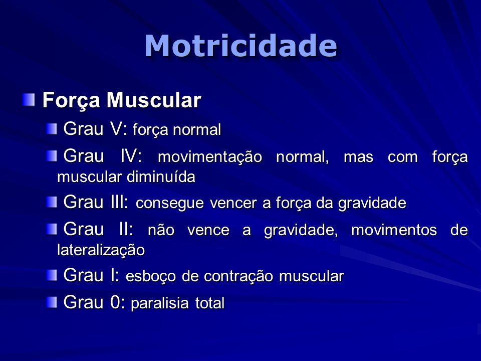 Motricidade Força Muscular Grau V: força normal