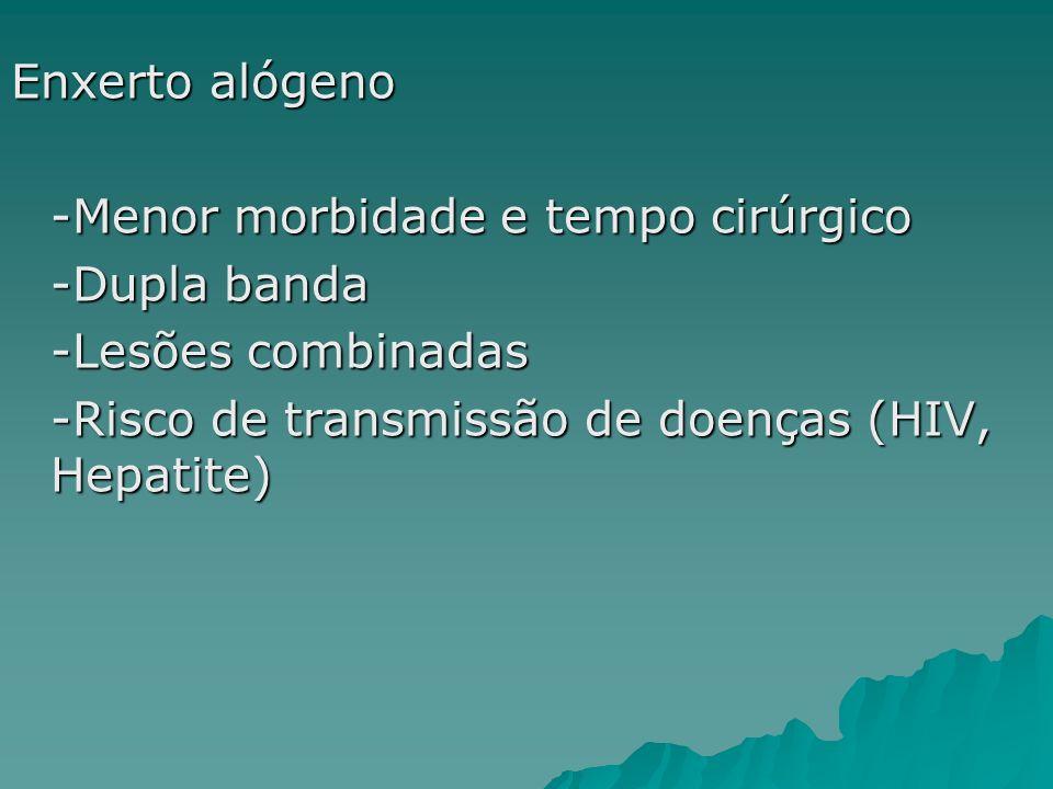 Enxerto alógeno-Menor morbidade e tempo cirúrgico.