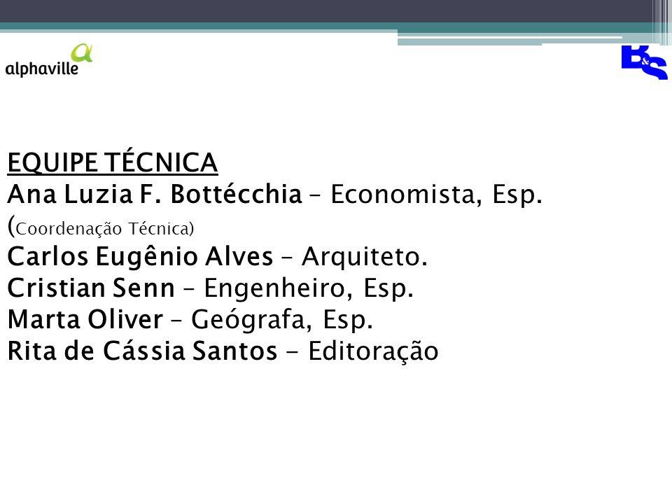 EQUIPE TÉCNICA Ana Luzia F. Bottécchia – Economista, Esp. (Coordenação Técnica) Carlos Eugênio Alves – Arquiteto.