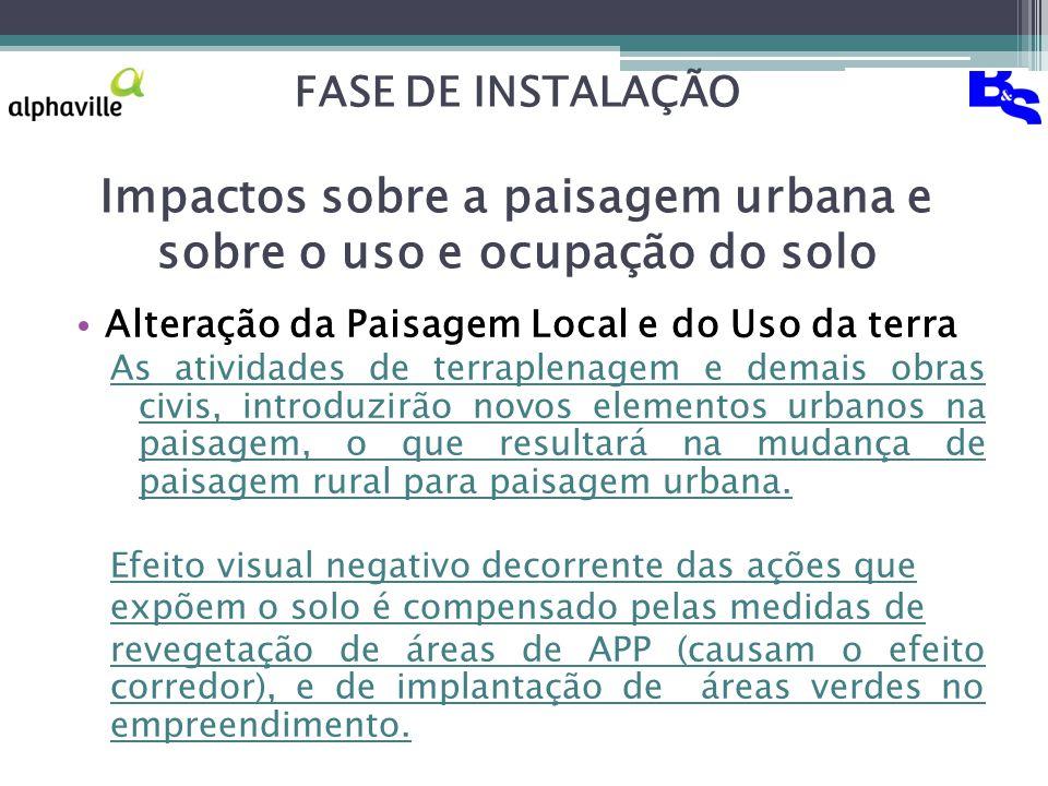 FASE DE INSTALAÇÃO Impactos sobre a paisagem urbana e sobre o uso e ocupação do solo